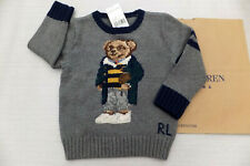 Polo Ralph Lauren Boys Cable Knit' Bear Jumper Sweater Grey Heather BNWT Age 7