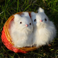 2 x Mini Realistic White Rabbits Handcrafted Easter Photo Prop Bunnies in Basket