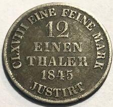 German States - HANNOVER - 1/12 Thaler - 1845 B - Vienna - KM-194.2 - KEY DATE!
