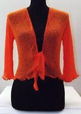 New Bali Shrug Bolero Cardigan Wrap up Fine knit / Mesh ORANGE UK size 8-18