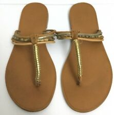 7585d44cd9e Aldo Strappy Leather Thong Sandals Tan Gold Size 7.5 pre-owned