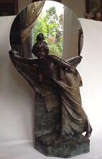 Signierte,60cm große orig.alte Skulptur , Jugendstil,ca.1900 Frankreich,Steingut