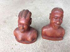 Ancien bustes en bois sculpté Art décoratif (couple)