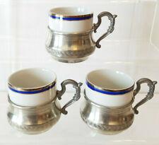3 MONOPOLI Italian ESPRESSO Demitasse CUPS Etain 95% PEWTER HOLDERS Blue & Gold