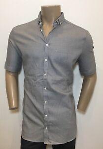 NEIL BARRETT Grey Slim Standard Fit Short Sleeve Shirt 17 / 43 / XL RRP: £225.00
