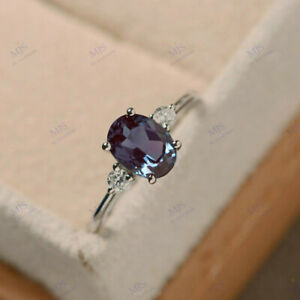8x6mm Oval Cut Alexandrite & Diamond Trilogy Engagement Ring 18K White Gold Over