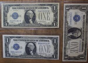 1928 Funny Back Silver Certificate Lot Of 3 US One Dollar Bills