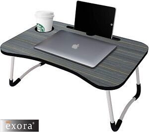 New Folding Laptop Desk Notebook Table Stand Bed Sofa Breakfast Tray Cup Slot UK