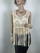 TOPSHOP Boho Beige/Cream Crochet Sheer Knit Tassels Hippie Sleeveless Top Size M