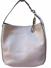 COACH Parchment Park Leather Avery Woven White/Silver Hobo Tote $658 F29894