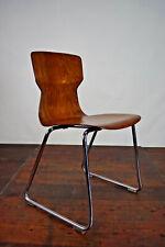 60er Vintage Stuhl Casala Stapelstuhl Nussbaum Esszimmer Pagholz Chrom 70er 1/12