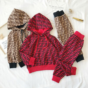 Kids Boys/Girls 2pc Tracksuit Toddler Tops Hoodie+Pants Outfits Sets Casual Suit
