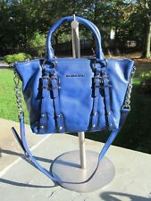 NWOT Michael Kors Leigh Satchel/ Cross Body Sapphire Blue Leather/ Studs/ Buckle