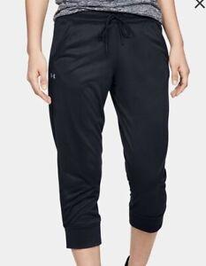 Under Armour Women's UA Heatgear Athletic Tech Capris Pants. Black Size Medium