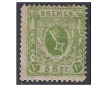 BREMA-BREMEN 1866, 5 SILBERGROSCHEN yellow green perf.13, Un.15 MM (F104)