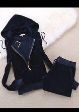 New Navy Blue Women's-Juicy-Couture-Size-L-Velour-Sweatsuit-Tracksuit-USA Seller