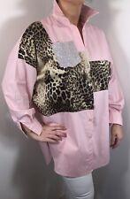 PINK Leopard Print Blouse Cotton Diamantés Soft Long Sleeves Fit 16 18 20 22 NEW