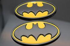 2PCS 3D Dark Knight Batman Metal Black Bat Logo Car Yellow Oval Badge Emblem