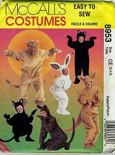 Bunny Bear Cat Lion Kangaroo Animal Costume McCall Pattern 8953 Sz 3, 4, 5