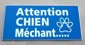 plaque gravée ATTENTION  CHIEN MECHANT format 75 x 150 mm