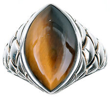 Sterling Silver Marquise Shape Tiger's Eye Cabochon Ring Size 6