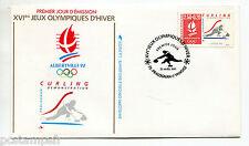 FRANCE FDC premier jour, JEUX OLYMPIQUES ALBERTVILLE, SPORT CURLING, timbre 2680