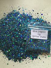 Nail Art Mixed Glitter ( Blue Lagoon ) 10g Bag Holographic Chunky