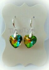 Crystal Sparkly Heart Earrings...Greens 2 pinks..Silver Hallmarked plated hooks