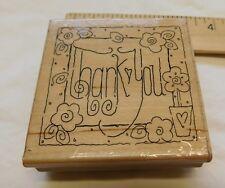 """THANK YOU Wood Mount Rubber Stamps JRL Design Vintage 3 x 3"""""""