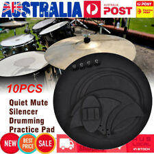 10pcs Mute Silencer Drumming Practice Pad Bass Drums Quiet Sound off Black AU