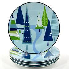 "Target Home WINTER SOLSTICE - BLUE 9"" Salad Plate Set 4 Christmas Pine Tree"