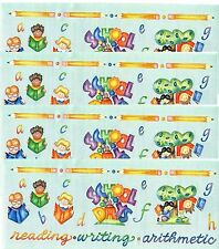 4 Sheets It Takes Two SCHOOL Scrapbook Stickers BORDER LARGE Books Pencils
