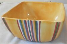 """Tabletops Unlimited Handpainted """"Cabana"""" Large Yellow Multi Stripe Serving Bowl"""