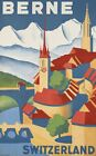 "Vintage Illustrated Travel Poster CANVAS PRINT Berne Switzerland 24""X16"""