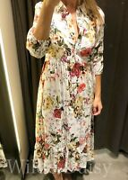 ZARA NEW WHITE LONG MIDI FLORAL DRESS SHIRT STYLE BUTTONS COLLARED SIZE S/M/L