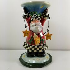 Roman Inc Christmas Ceramic Santa Candle Holder Collectible Stars a17