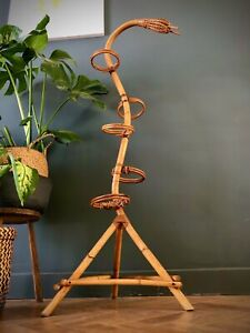 Vintage Mid Century Boho 5 tier Bamboo Cane plant stand pot wooden planter Snake