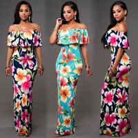 Womens Floral Bodycon Long Maxi Dress Off Shoulder Ruffle Summer Tight Sundress