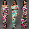 Womens Floral Bodycon Long Maxi Dress Off Shoulder Ruffle Summer Tight Sundress