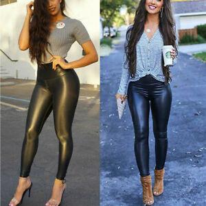 HIGH WAIST leggings mat wet look latex faux imitation leather full length_Higwst