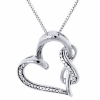 Diamond Heart Pendant Sterling Silver Infinity Charm Necklace with Chain .12 Ct
