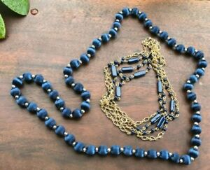 Vintage Necklace Lot 2 Pieces Navy Blue Silk & Metal 1950s-1960s Wearable