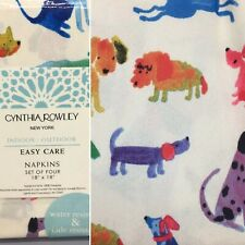 x4 Cynthia Rowley Dog Fabric Napkins Watercolor Turquoise Purple Outdoor Indoor