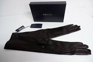 Prada Womens Long Black Leather Gloves, Size 8, NEW, BNWT