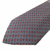 Bespoke 100% Silk Mens Necktie Gray Red Diamond Geometric Pattern Tie F306