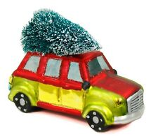 Red Yellow Glass Car With Tree Christmas Ornament Holiday Decoration