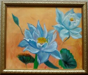 """ORIGINAL OIL PAINING HAWAII ARTIST, """"BLUE LOTUS ON GOLD 11"""" ONE OF A KIND"""