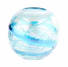 "New 6"" Hand Blown Glass Art Vase Bowl Bluegreen Clear Blue Stripes Decorative"