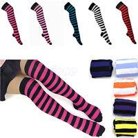 Women Girl Stripe Striped Over Knee Thigh High Stockings Long Socks hot sale