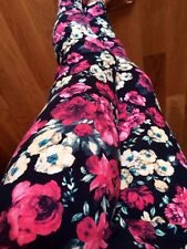 PLUS SIZE leggings Light Red Yellow ROSES FLORAL flower COTTON 10-24